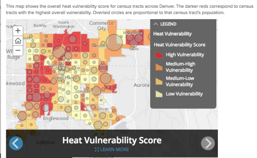 Denver hot spots for climate-related heat vulnerability