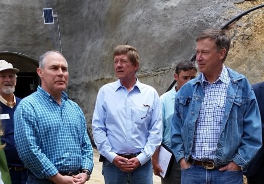 Pruiit, Tipton and Hickenlooper at Gold King MIne portal